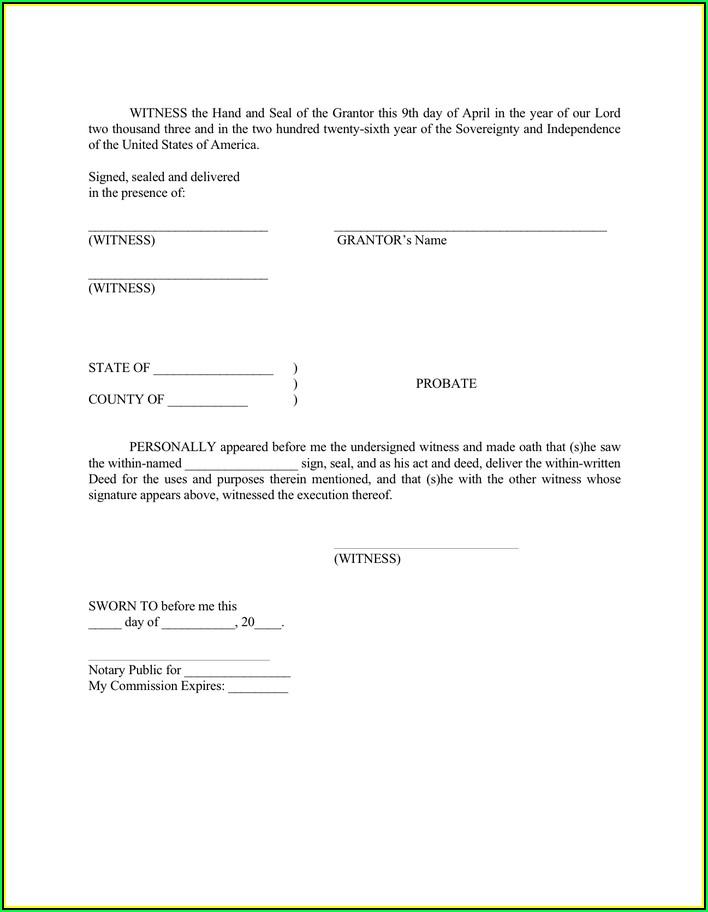 South Carolina Warranty Deed Form