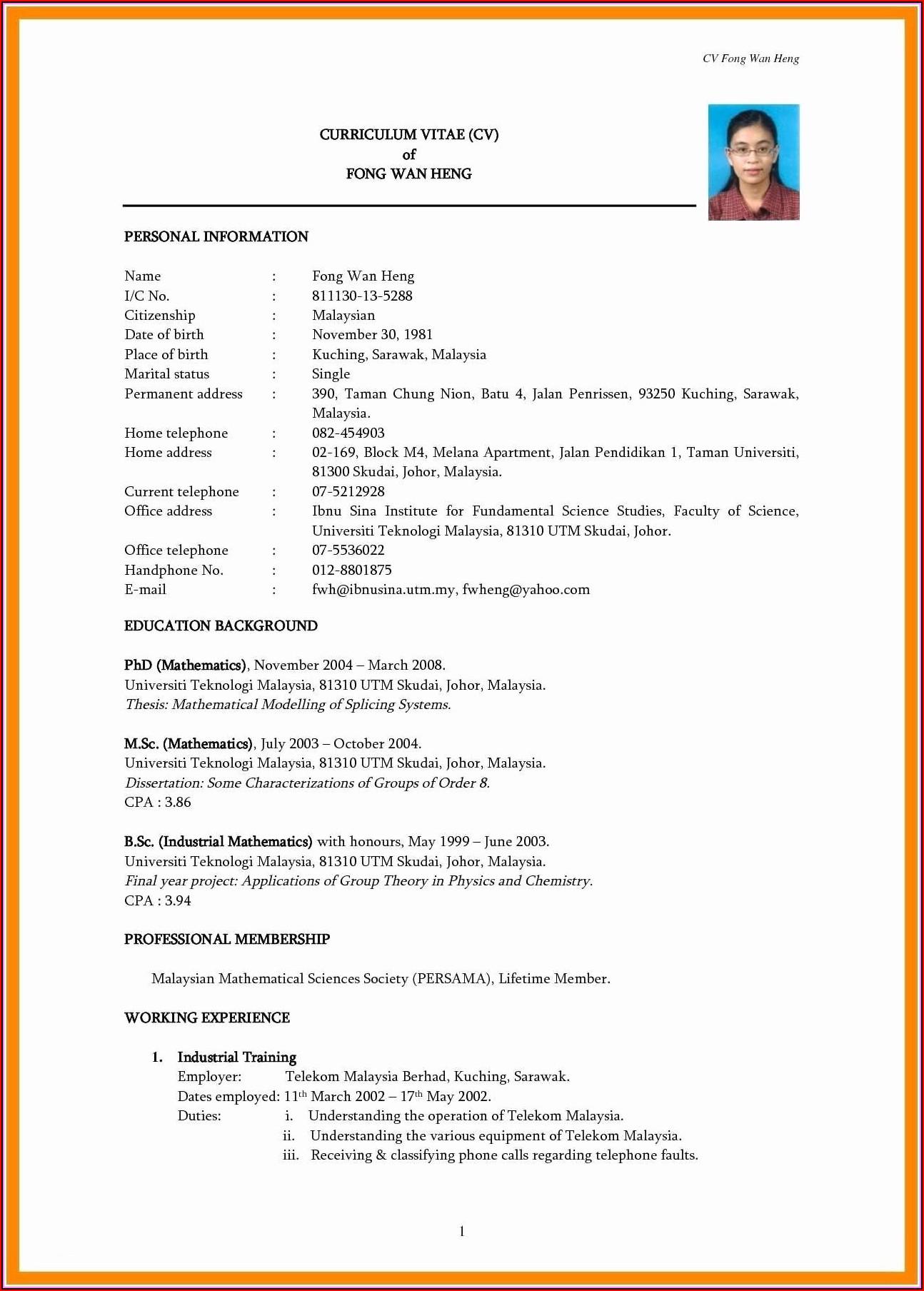 Standard Resume Samples
