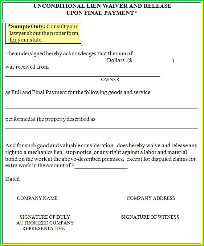 State Of Florida Mechanics Lien Form