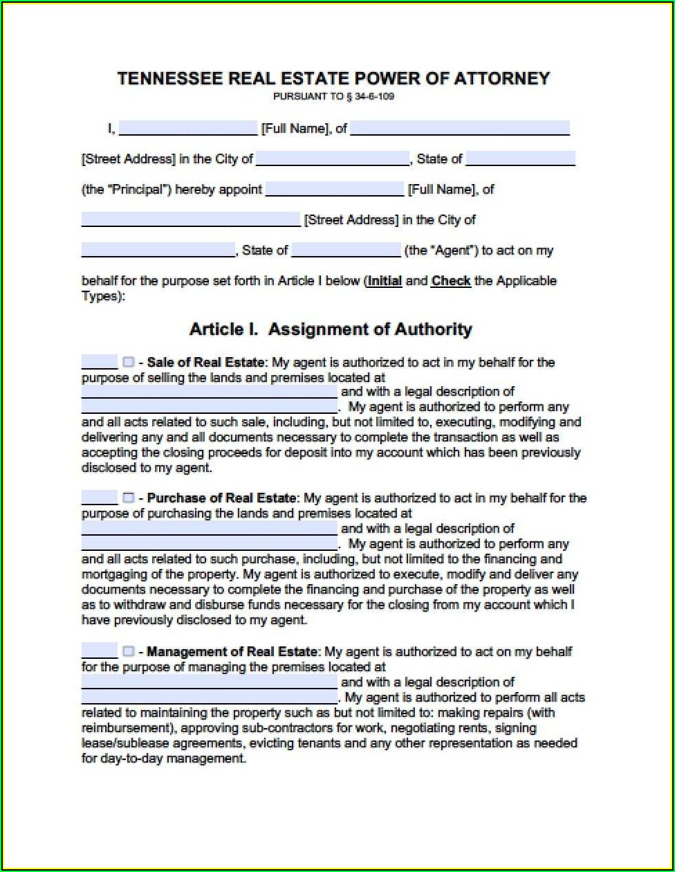 Tennessee Durable Power Of Attorney For Healthcare Form
