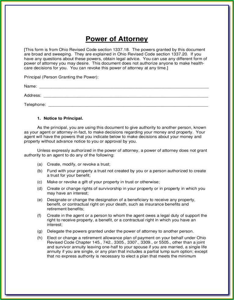 Tennessee General Durable Power Of Attorney Form Free