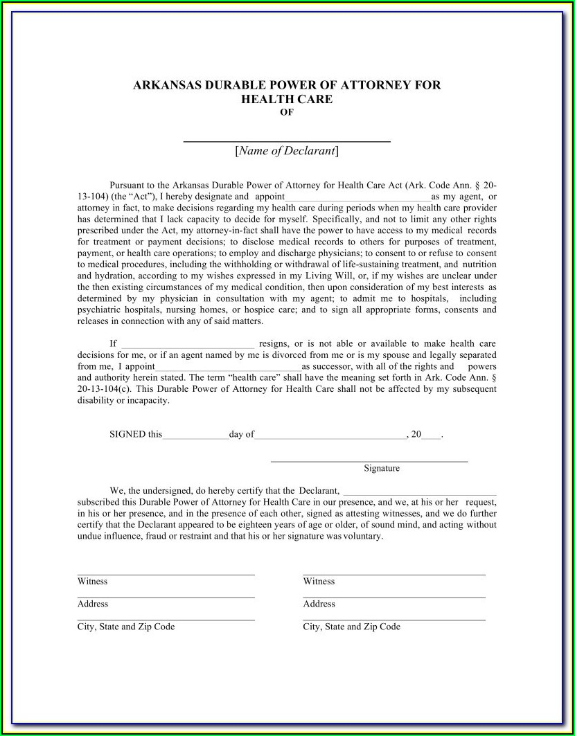 Texas Durable Power Of Attorney For Healthcare Form