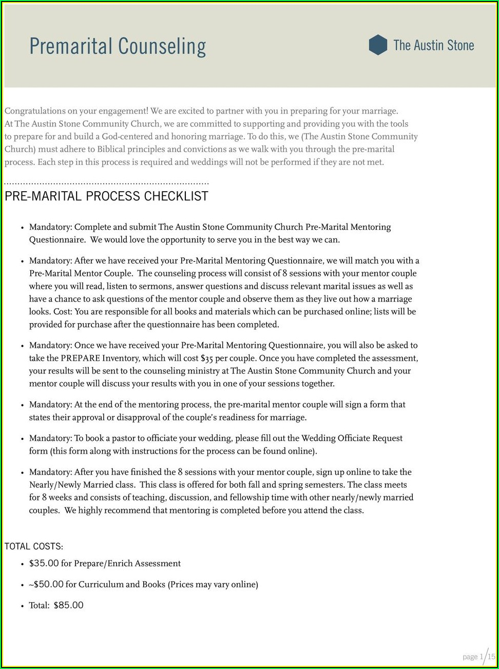 Tn Premarital Counseling Form