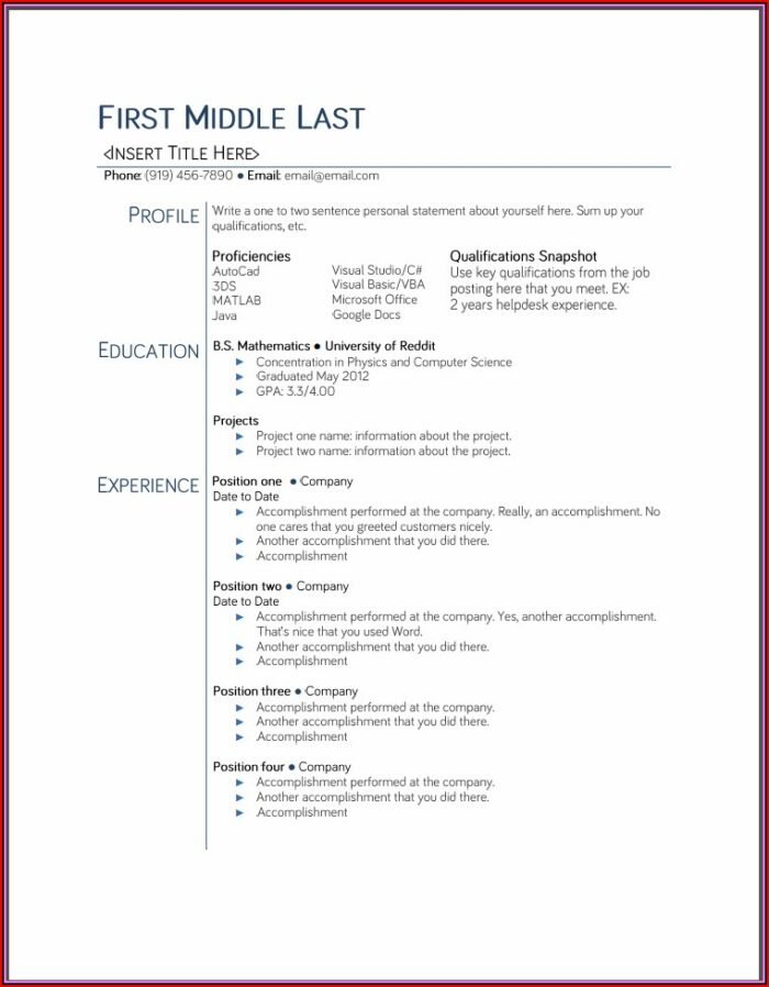 Usable Resume Templates