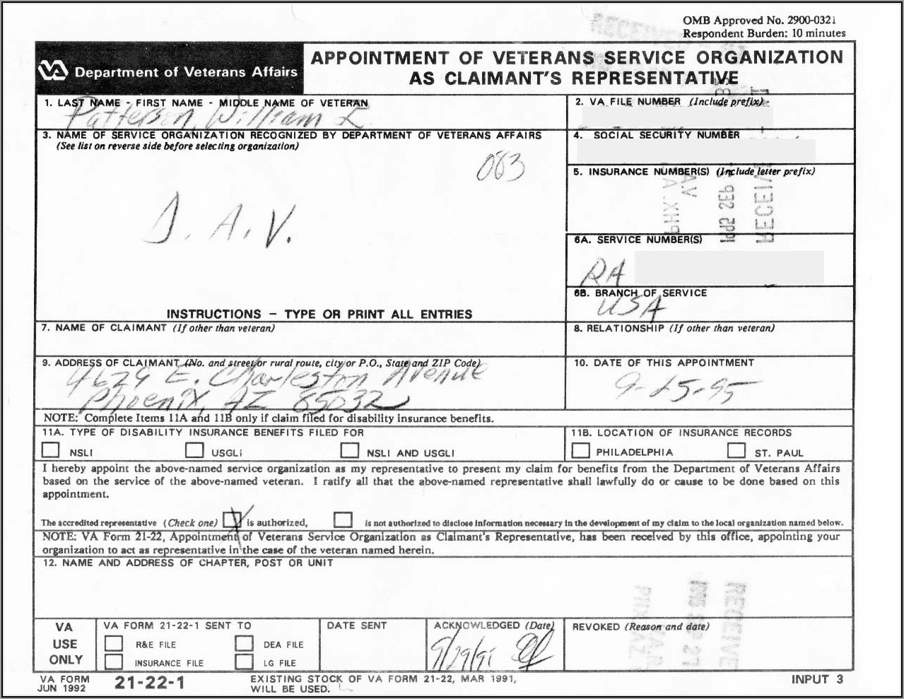 Va Form 21 22 Fillable