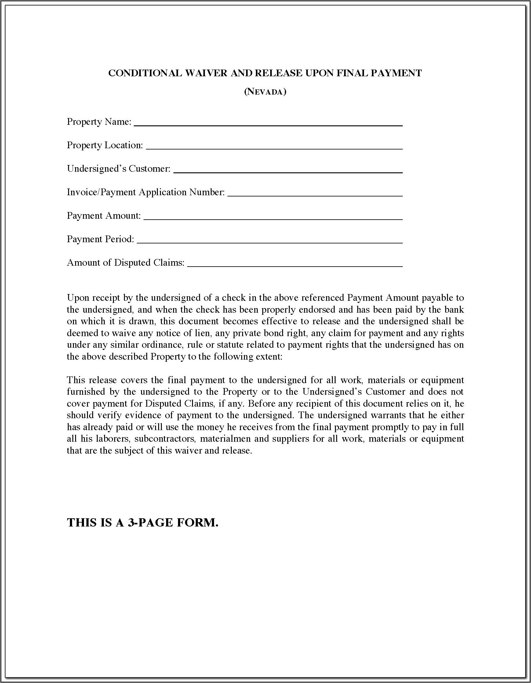 Waiver And Release Of Lien Upon Final Payment Form Florida
