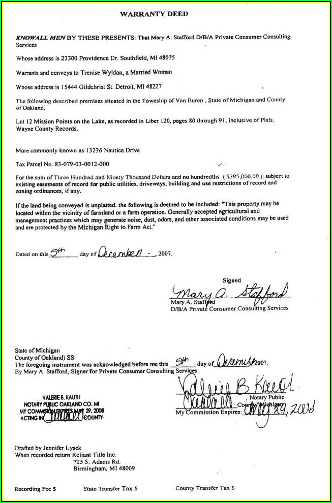 Warranty Deed Form Wayne County Michigan