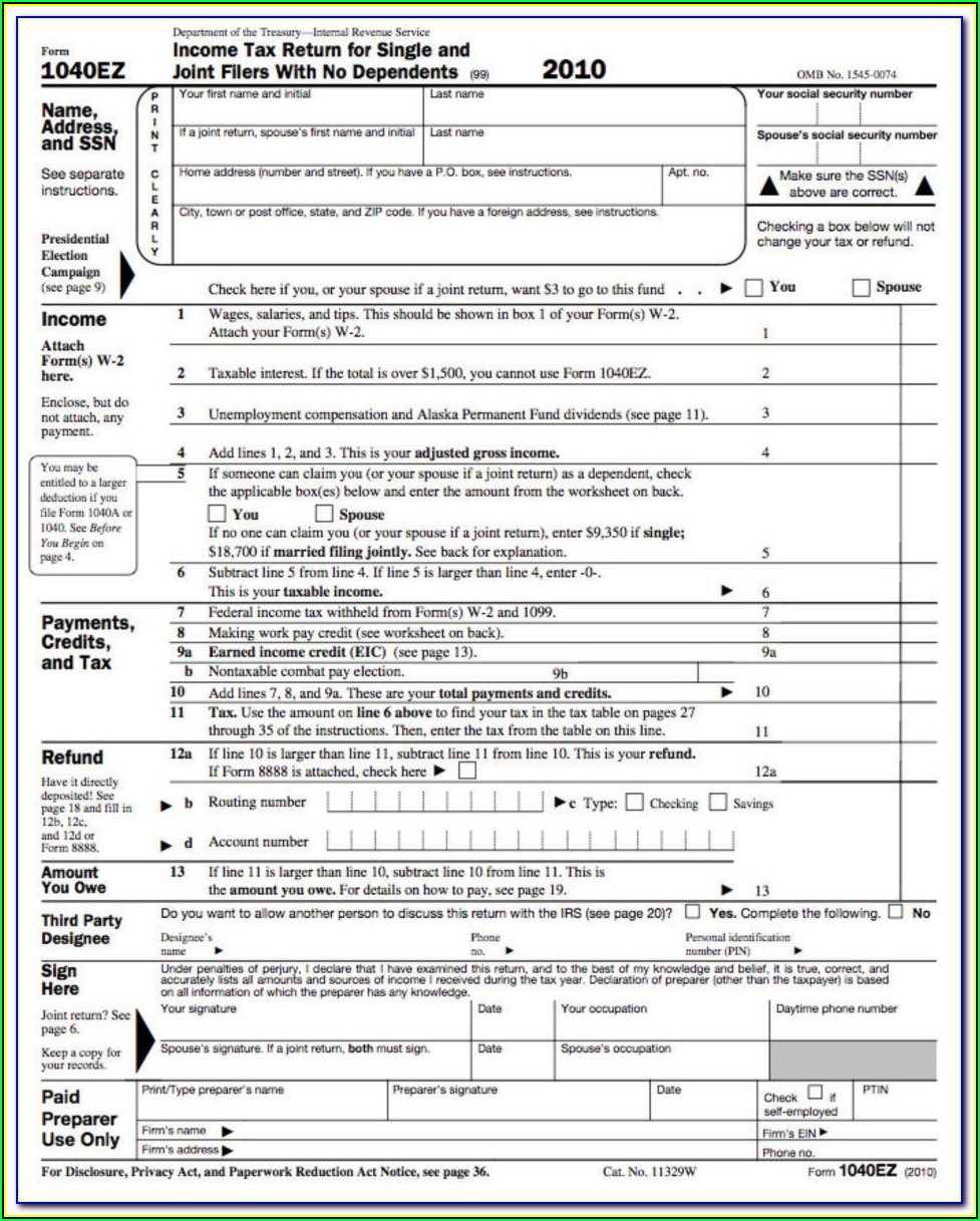 Where To Print 1040ez Form