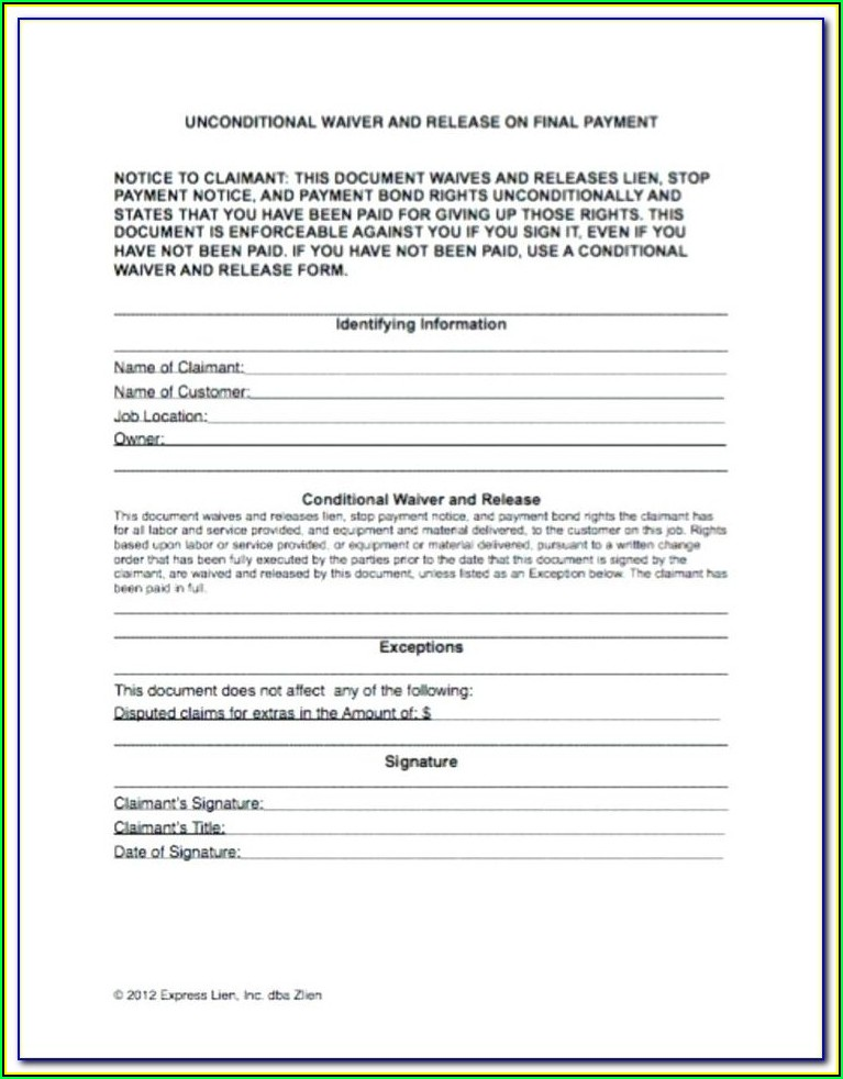 Wisconsin Construction Lien Waiver Forms