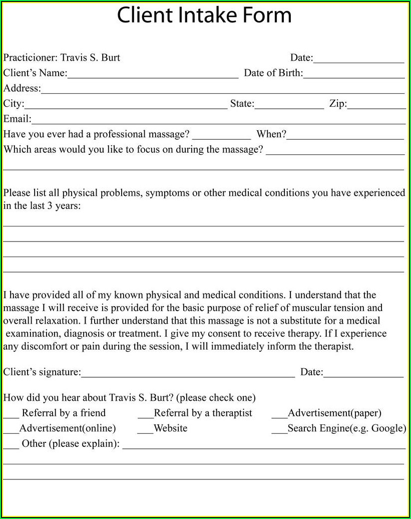 Workers Compensation Intake Form