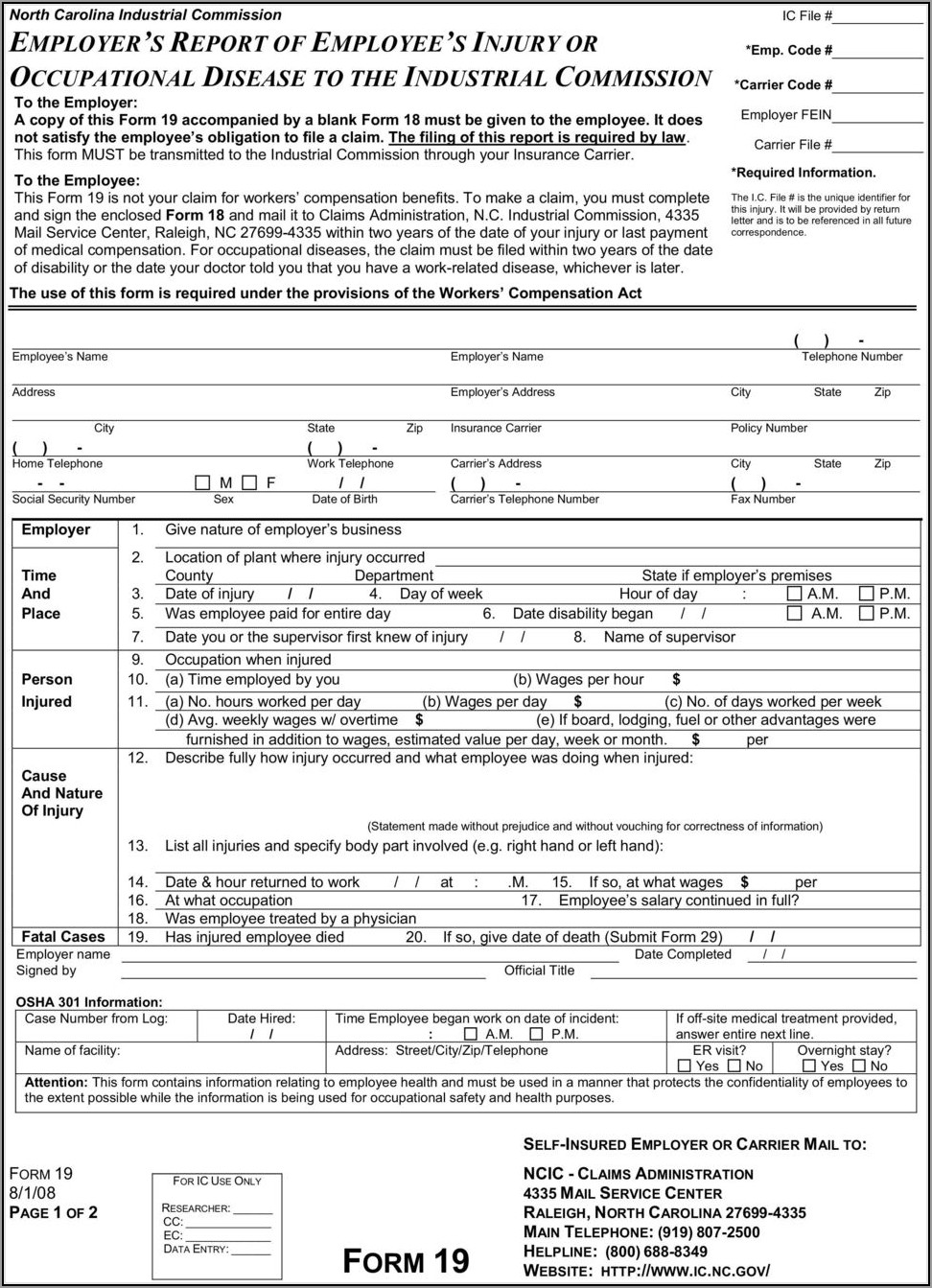 Workmans Comp Form 19