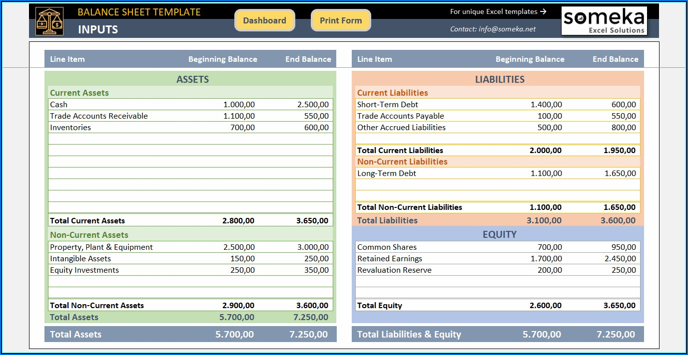 12 Month Balance Sheet Template Excel