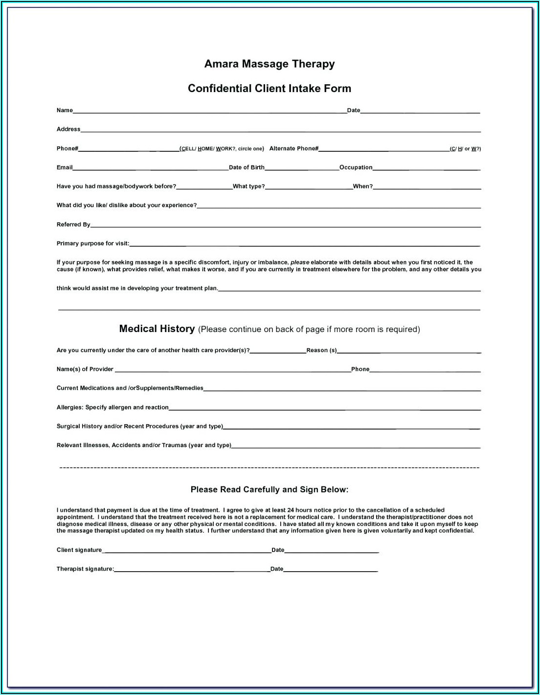 2020 Tax Preparation Client Intake Form Template