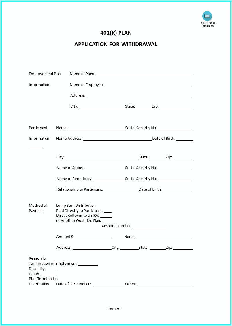 401k Enrollment Form Template