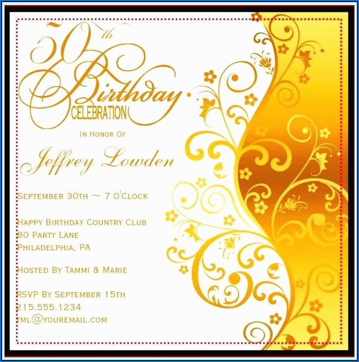 50th Birthday Invitations Template