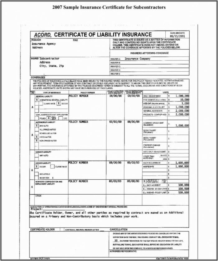 Acord Form Insurance Certificate
