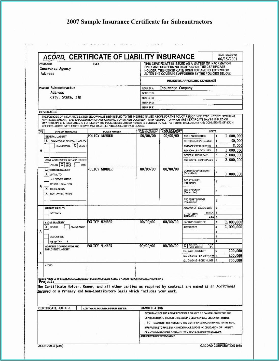 Acord Liability Insurance Form