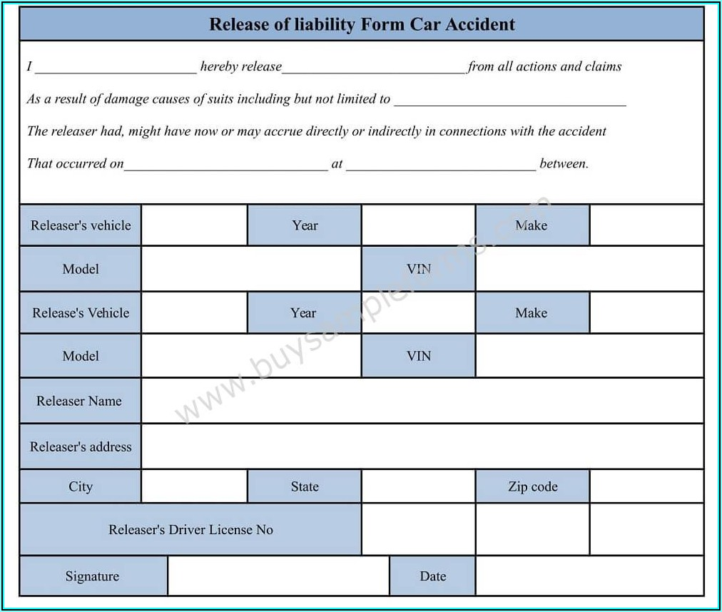 Auto Accident Liability Release Form Template