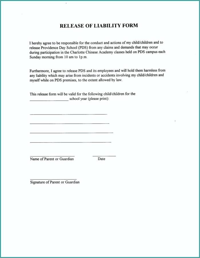 Auto Accident Release Of Liability Form California