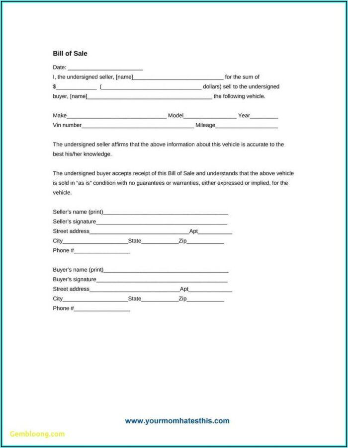 Auto Bill Of Sale Form Colorado