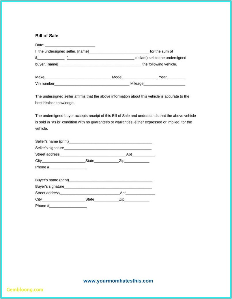 Auto Bill Of Sale Form Colorado
