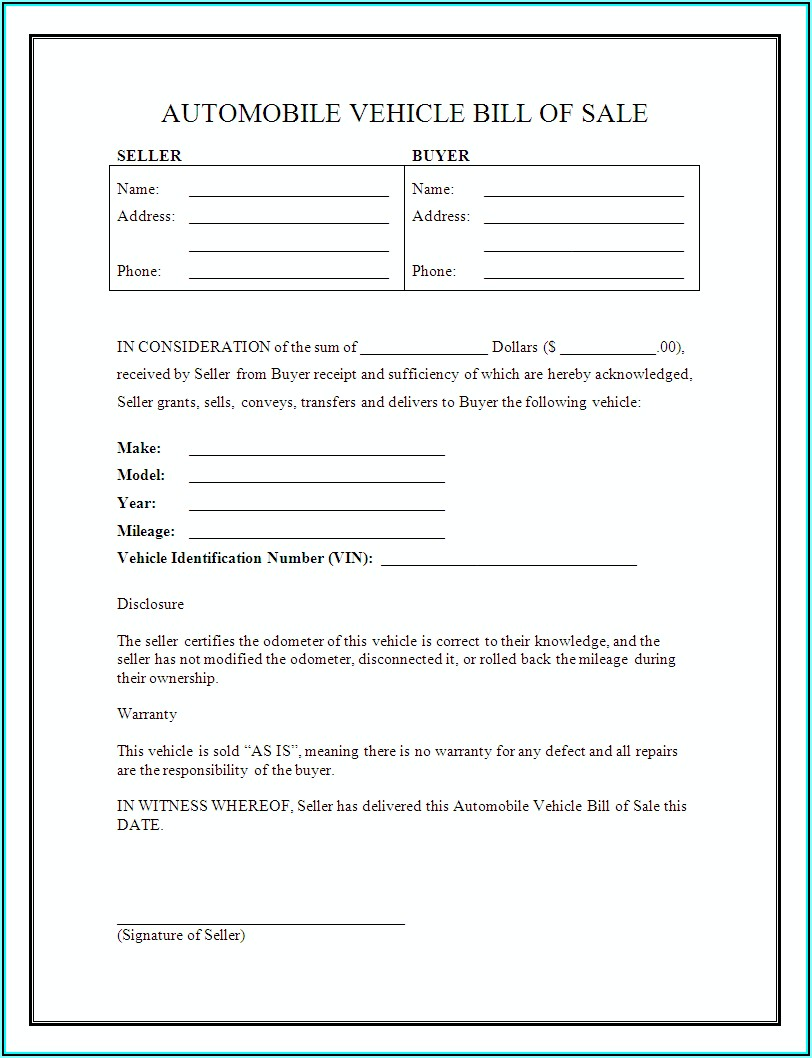 Auto Bill Of Sale Form Free