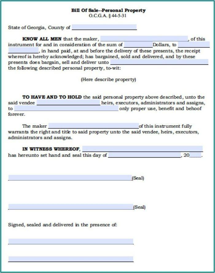 Auto Bill Of Sale Form Ga