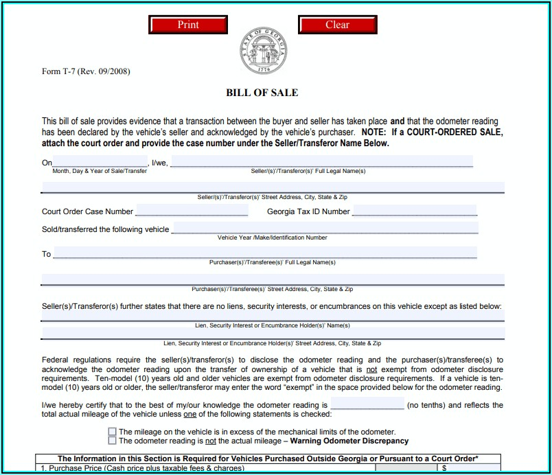 Auto Bill Of Sale Form Georgia