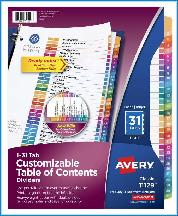 Avery 31 Tab Table Of Contents Template