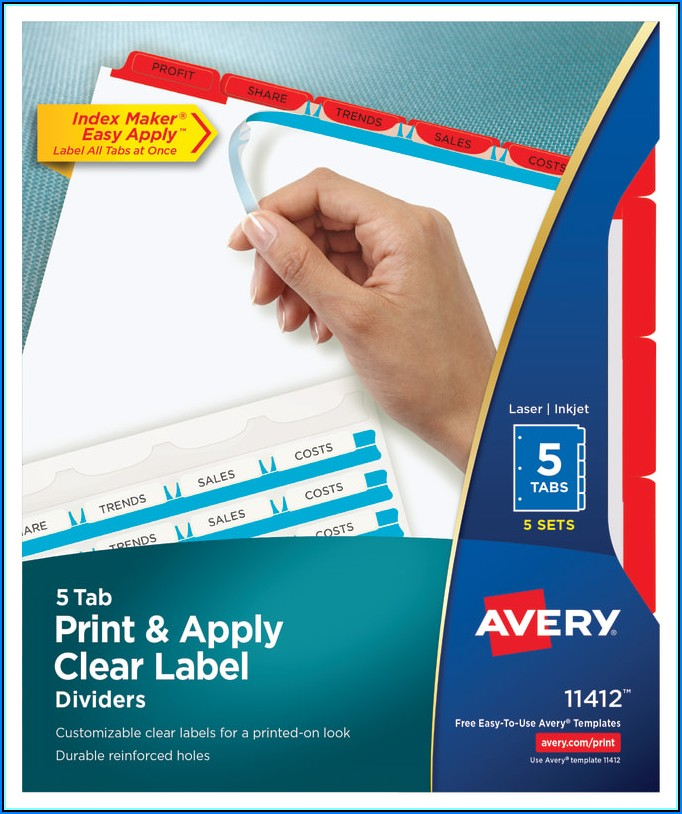 Avery 5 Tab Cut Label Template
