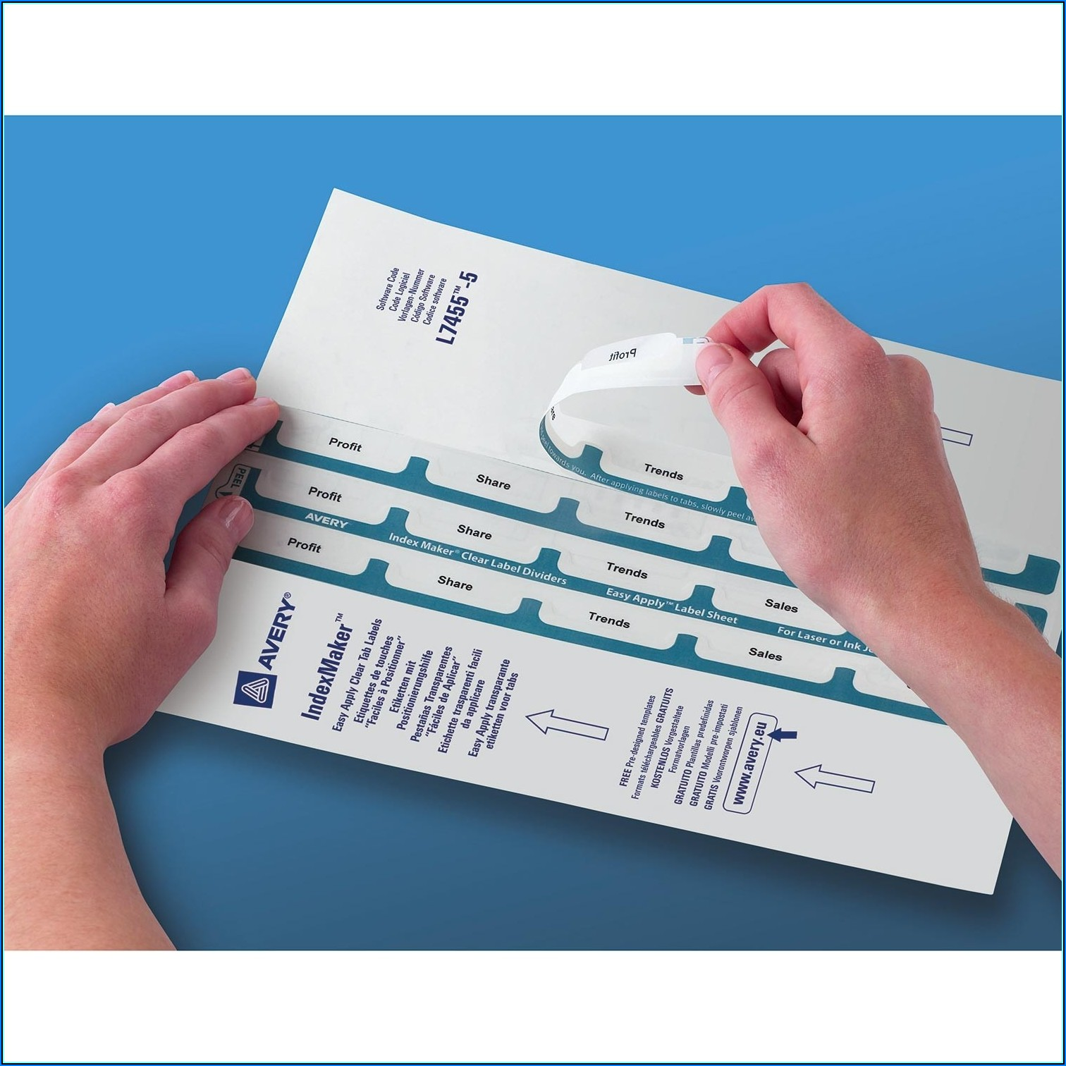 Avery 5 Tab Easy Apply Label Sheet Template