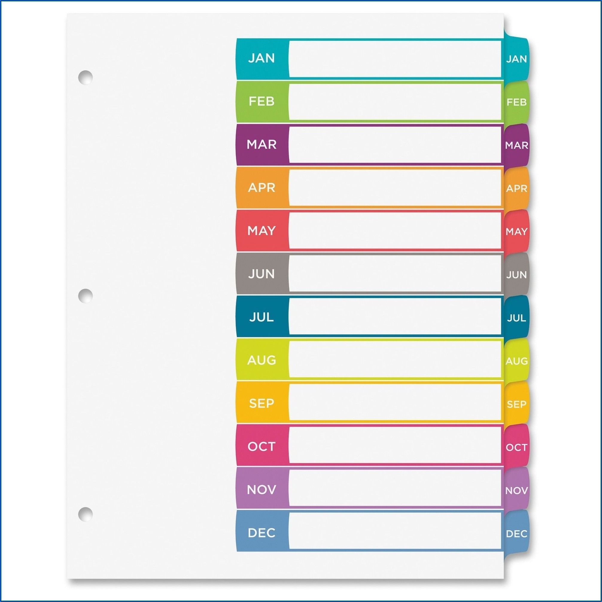 Avery Ready Index 31 Tab Template Color