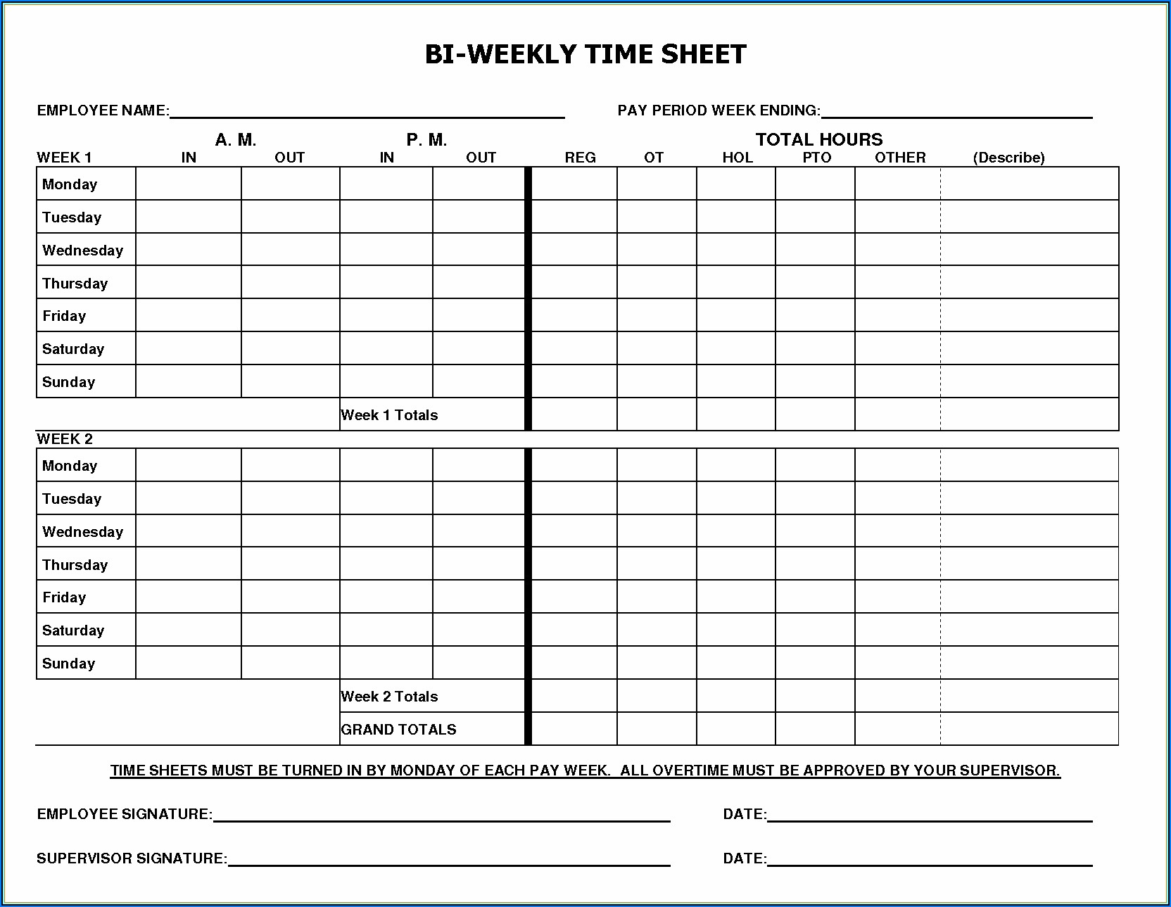Bi Weekly Timesheet Template Excel