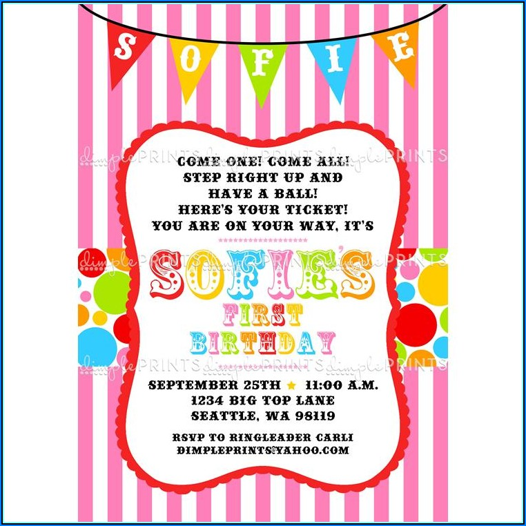 Carnival Themed Birthday Party Invitation Templates