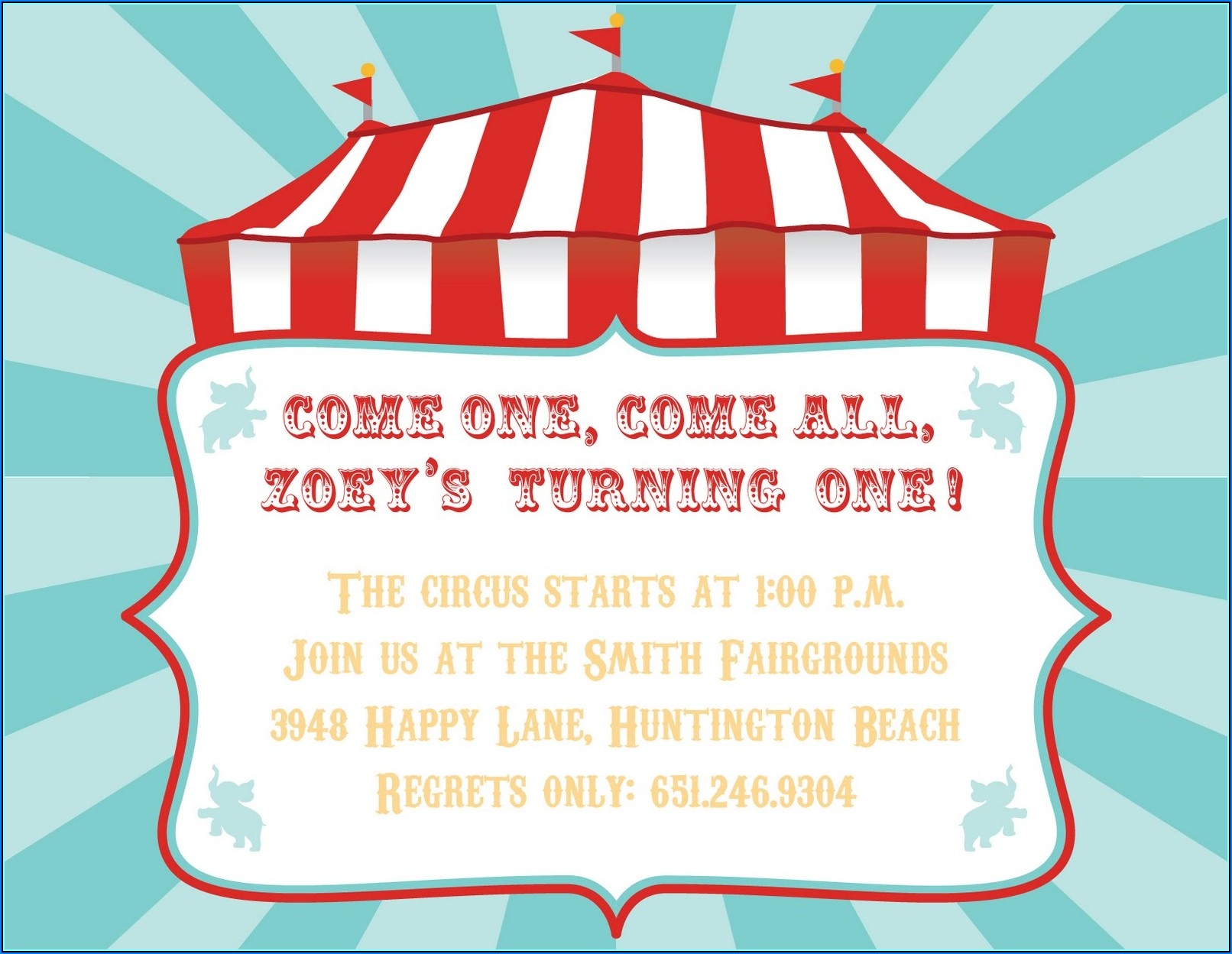 Carnival Themed Party Invitation Templates