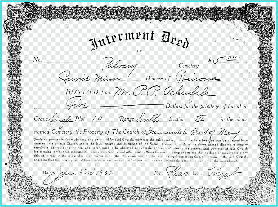 Cemetery Deed Form Templates