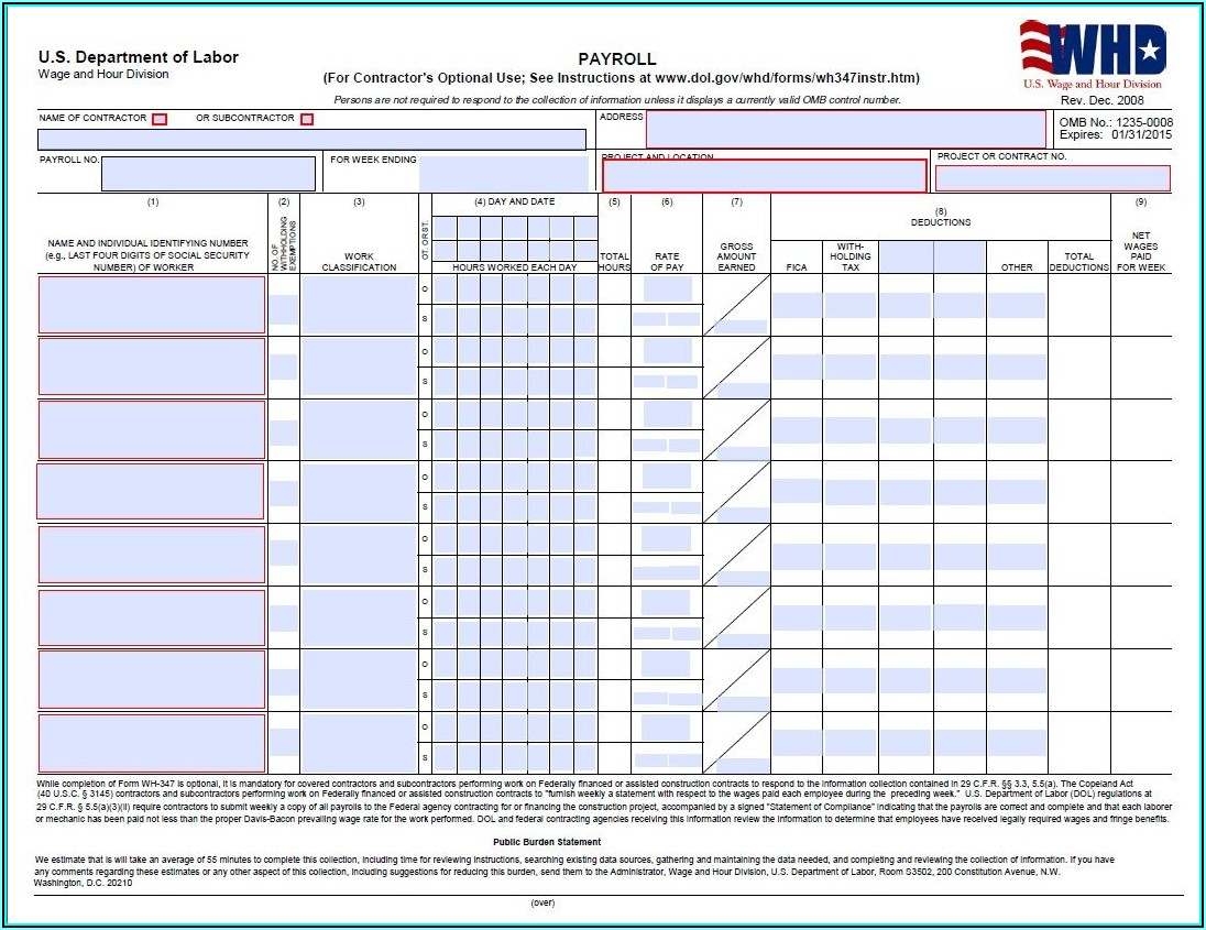 Certified Payroll Form Wh 347 Instructions