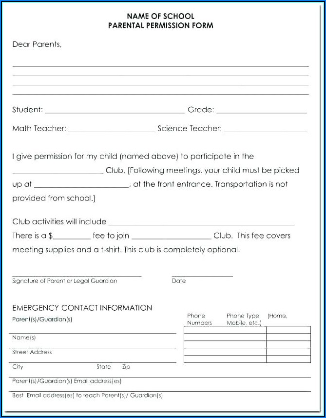 Child Medical Consent Form Template Uk