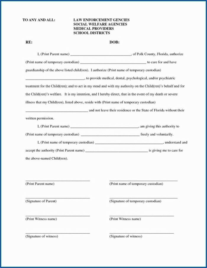 Child Medical Consent Letter Template