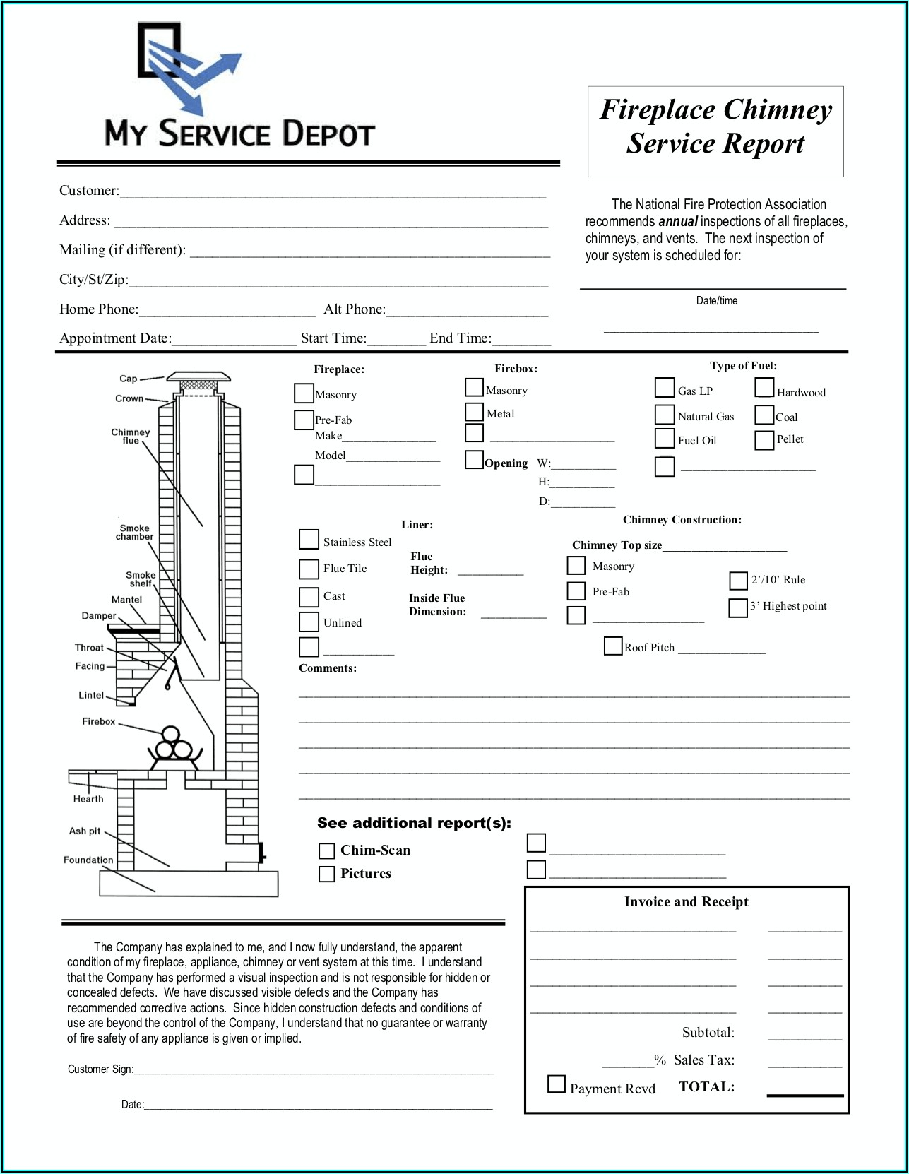 Chimney Sweep Inspection Forms