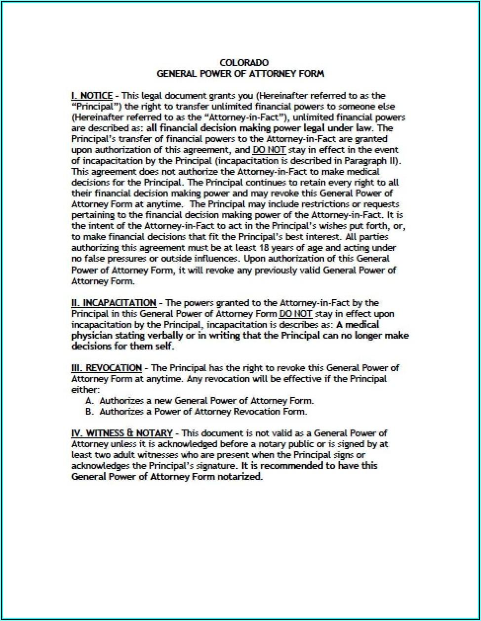 Colorado Financial Power Of Attorney Form
