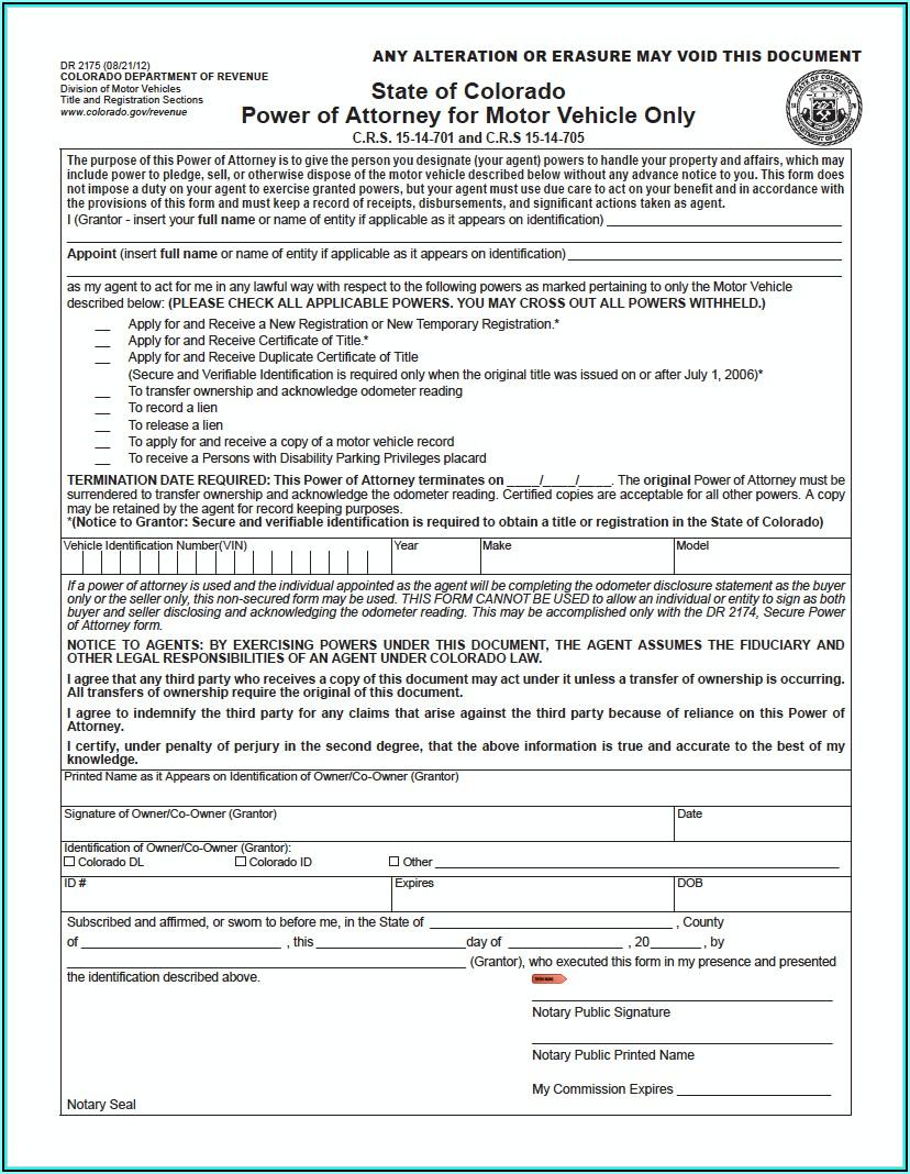 Colorado Power Of Attorney Form Motor Vehicle