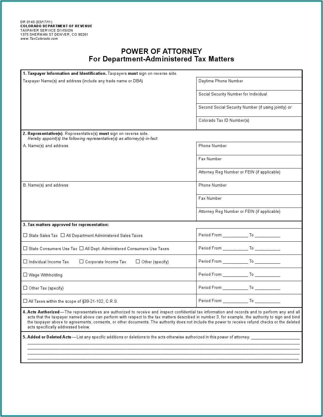 Colorado Power Of Attorney Forms