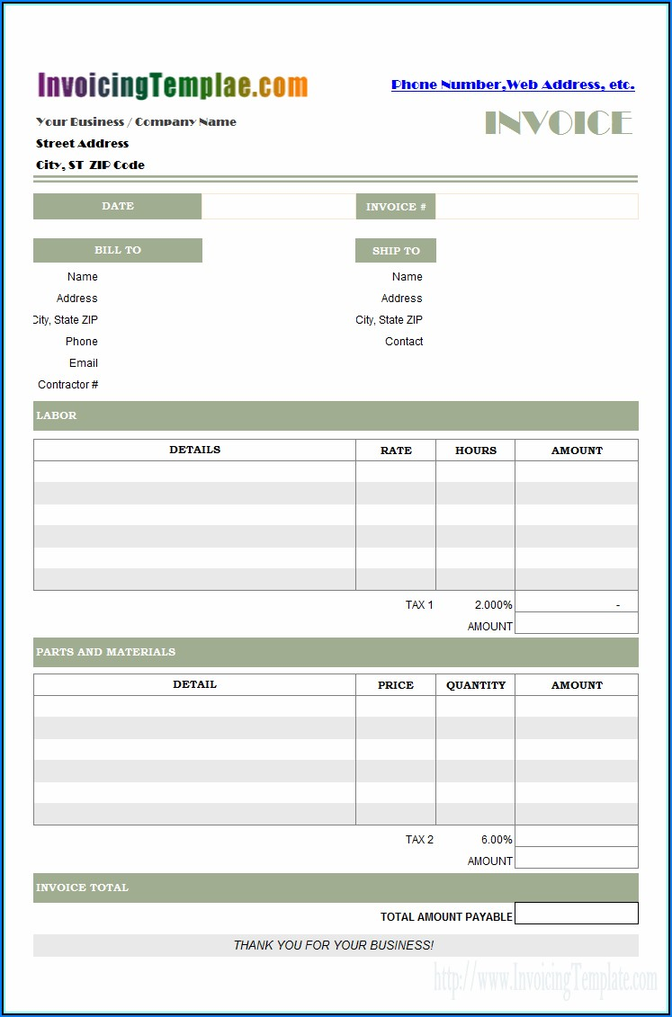 Contractor Labor Invoice Template