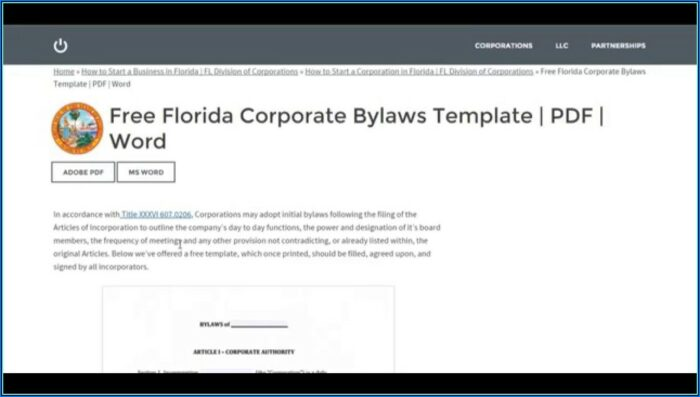 Corporate Bylaws Template Florida