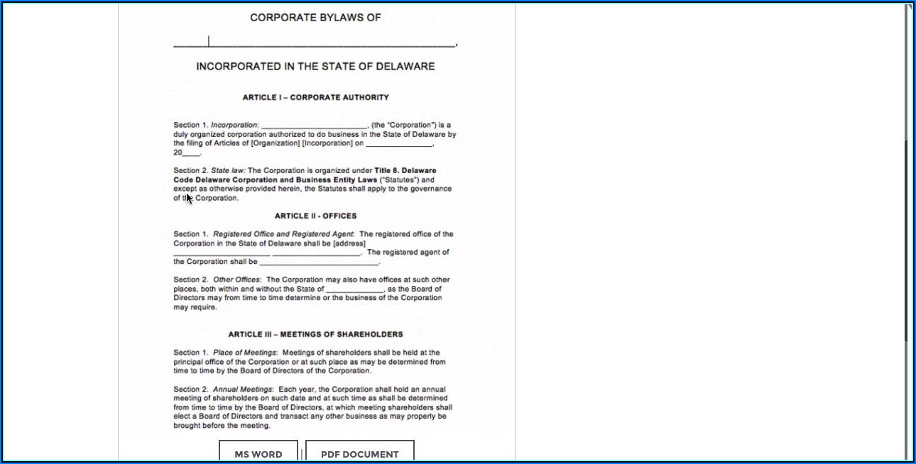 Corporate Bylaws Template Word