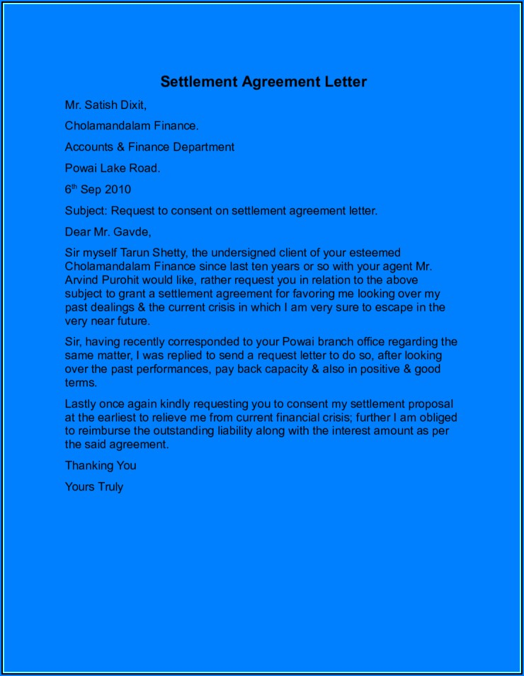 Debt Settlement Agreement Letter Collection Agency