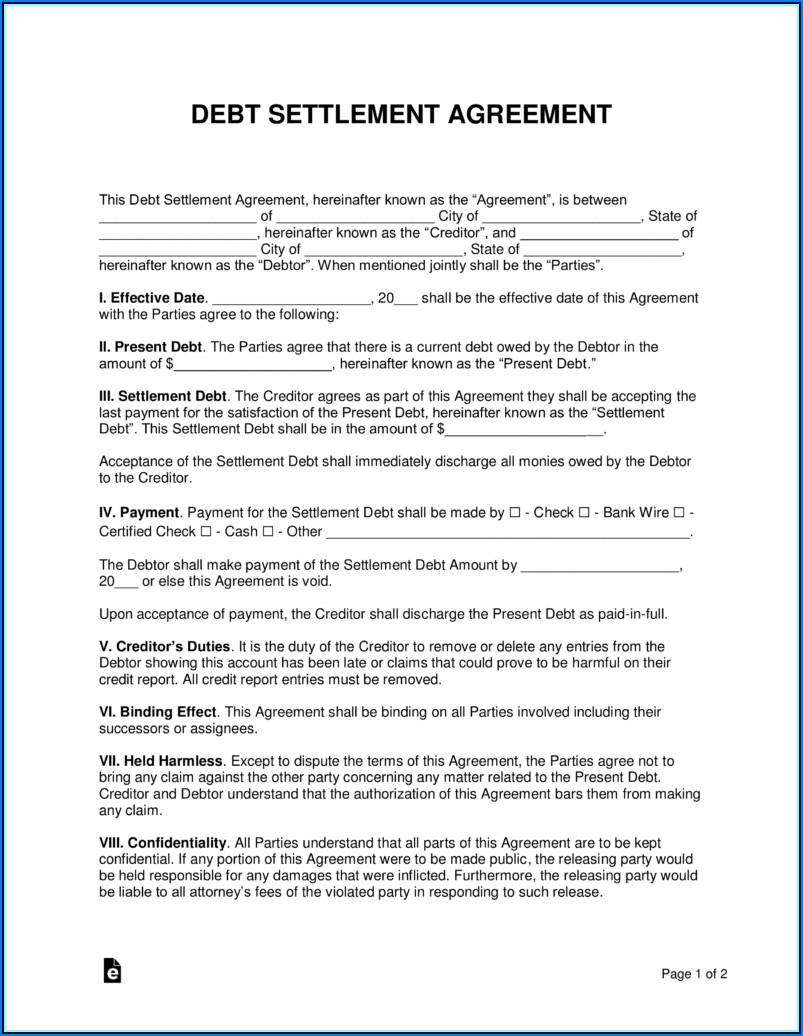 Debt Settlement Agreement Letter Pdf