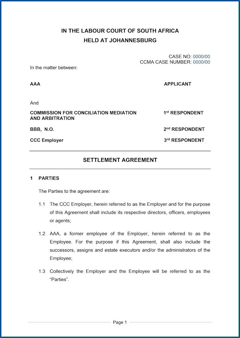 Debt Settlement Agreement Template South Africa