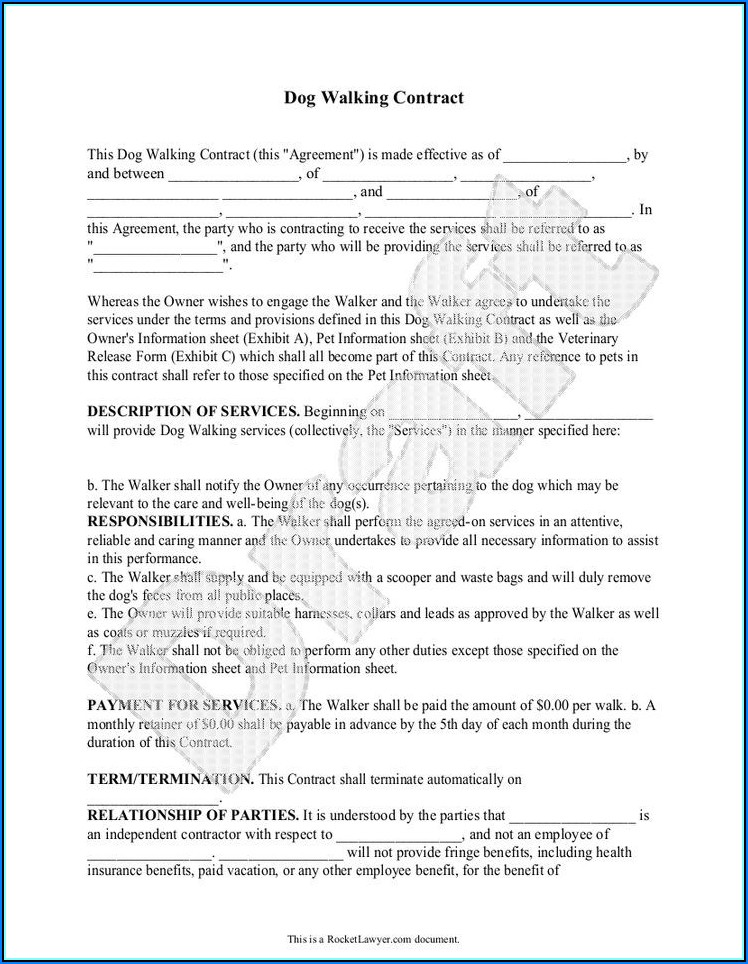 Dog Walking Contract Example